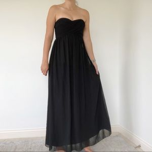 Bill Levkoff | Strapless Black Bridesmaid Dress